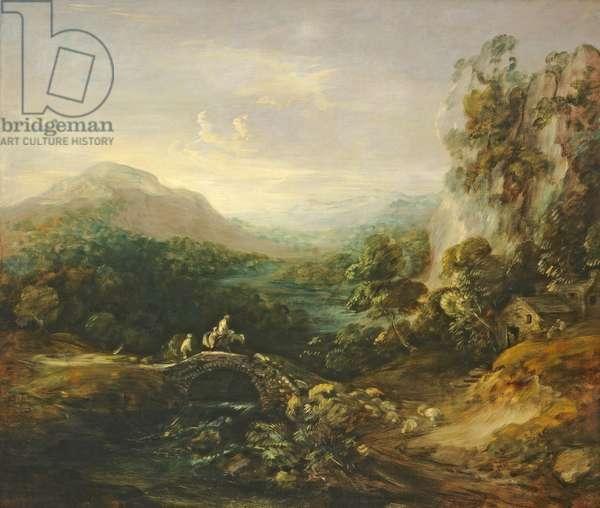 Mountain landscape with bridge, c.1783-1784 (oil on canvas)
