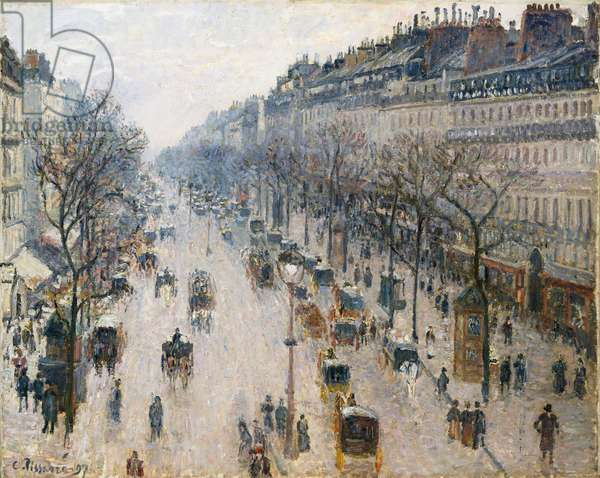 The Boulevard Montmartre on a Winter Morning, 1897 (oil on canvas)