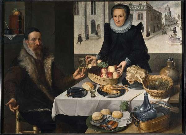 Double Portrait of an Elderly Couple (oil on canvas)