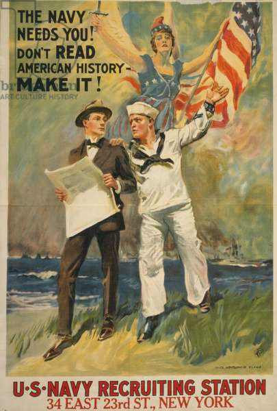 The Navy Needs You!, 1917 (colour lithograph)