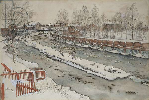 The Timber Chute, Winter Scene, from 'A Home' series, c.1895 (w/c on paper)