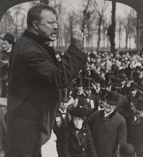 President Roosevelt at Evanston, 1903 (b/w photo)