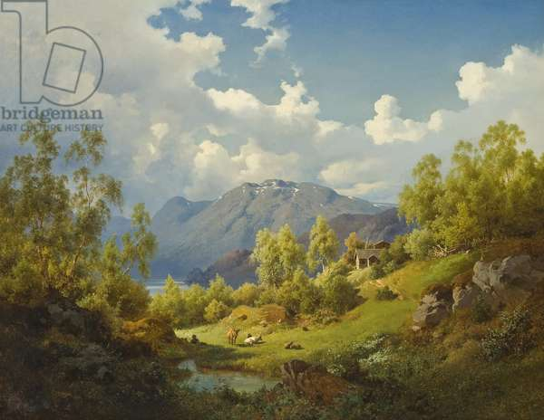 Landscape, Motif from the Numme Valley in Norway, 1850 (oil on canvas)