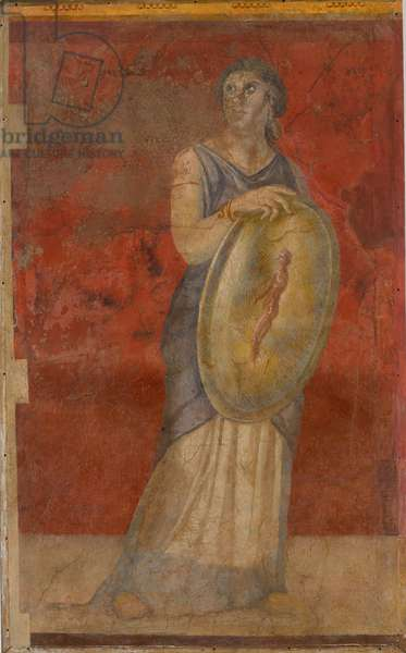 Standing woman holding a shield, c.50–40 B.C. (fresco)