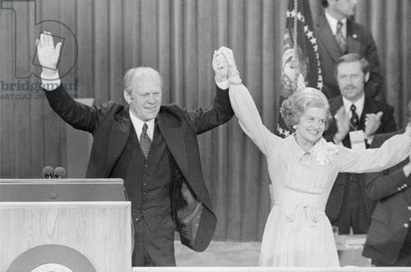 President Gerald Ford and First Lady Betty Ford celebrate winning the nomination at the Republican National Convention in Kansas City, 1976