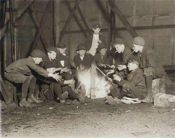 Gang of Newsboys at 10:00 p.m., 1910 (b/w photo)