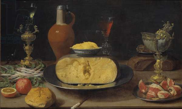 Breakfast Piece with Cheese and Goblet (oil on panel)