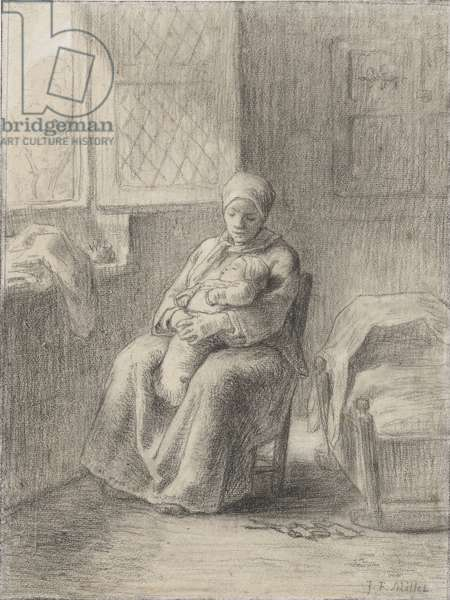 Seated Woman with a Baby by a Window, c.1824-75 (chalk on paper)