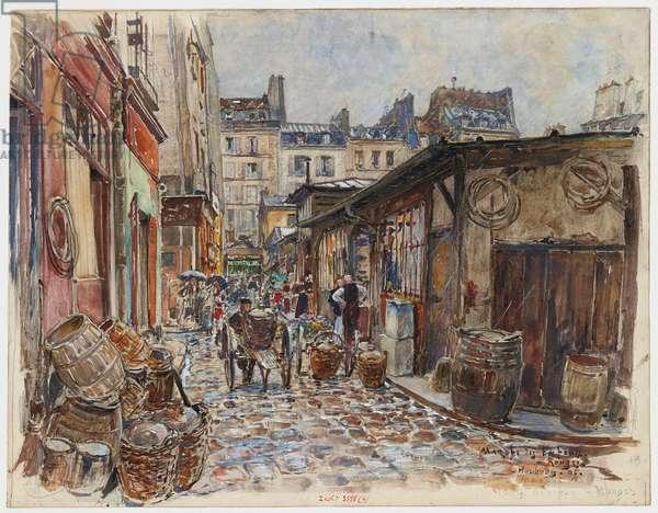 Le Marché des Enfants Rouges, côté Ouest, sous la pluie, 1907 (w/c on paper)