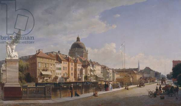 Rear View of the Houses at Schlossfreiheit, Berlin, 1855 (oil on canvas)