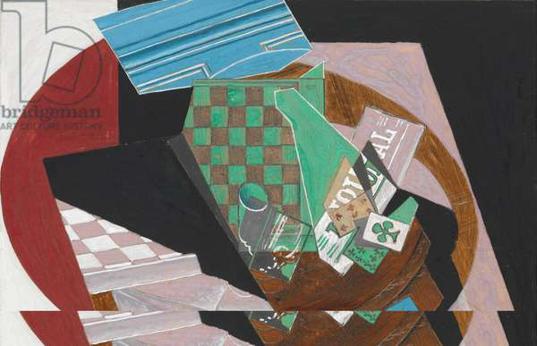 Checkerboard and Playing Cards, 1915 (gouache, graphite, and resin on cream-colored wove paper, mounted to paperboard)