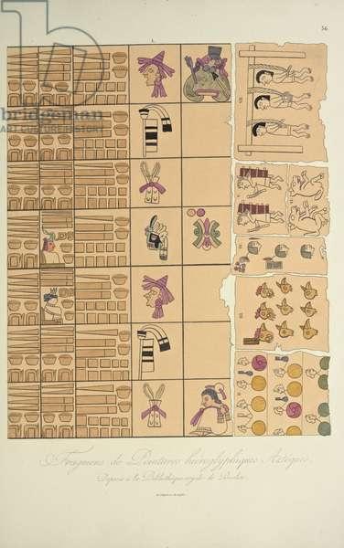 Fragments of Aztec Hieroglyphic Paintings from the Royal Library in Berlin, illustration from 'Vues des Cordillères et Monumens des Peuples Indigènes de l'Amérique' by Alexander von Humboldt and Aime Bonpland, 1813 (hand-coloured aquatint)