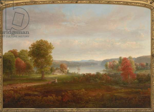 View on the Hudson in Autumn, 1850 (oil on canvas)