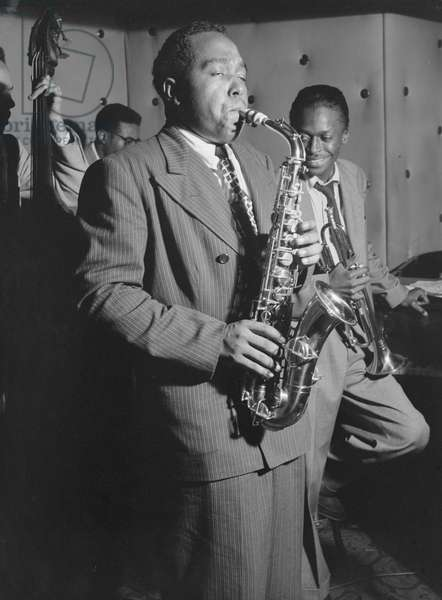 Charlie Parker (1920-1955) American Jazz Musician Performing with Miles Davis, Tommy Potter and Max Roach at the Three Deuces in New York City, c.1947 (b/w photo)