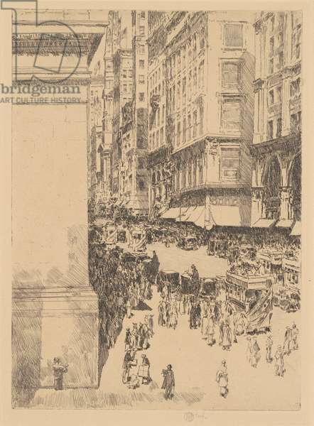 Fifth Avenue, Noon, 1916 (black etching on wove paper)
