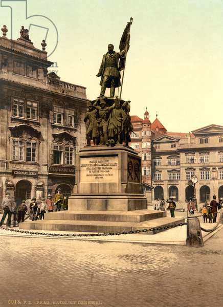 Radetzky Memorial in Prague, c.1890 (colour postcard)