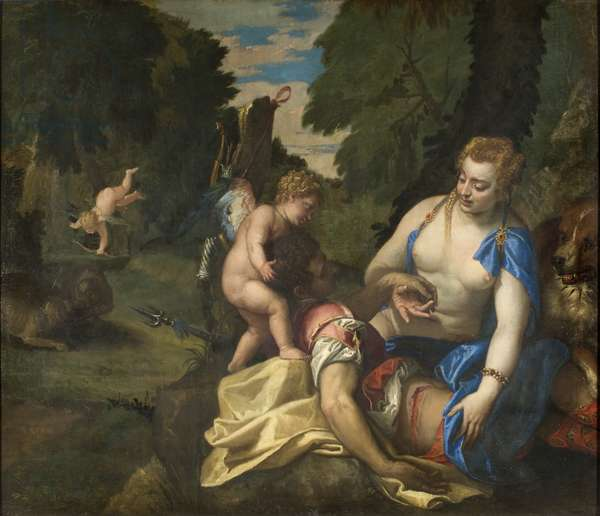 Venus Mourning Adonis (oil on canvas)