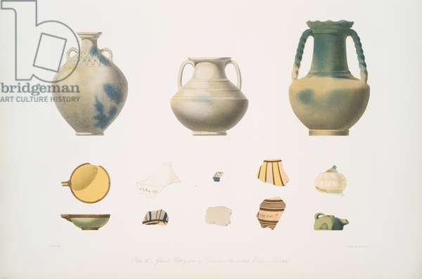 Glazed pottery from the tombs above the central Edifice, Nimroud [Calah], 1849 (lithograph)