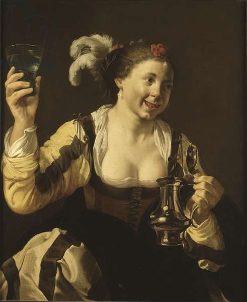 A Girl Holding a Glass, c.1620 (oil on canvas)