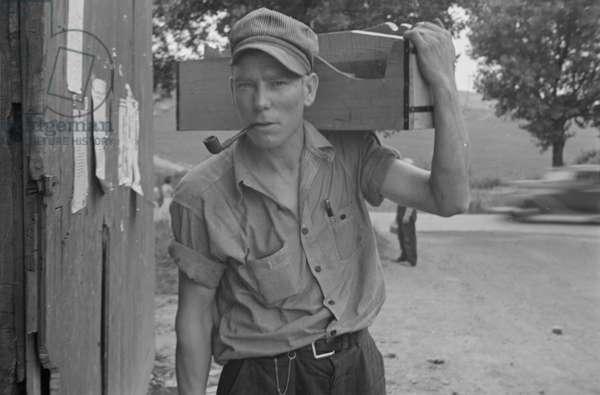 Carpenter in Westmoreland County, Pennsylvania, 1935 (b/w photo)