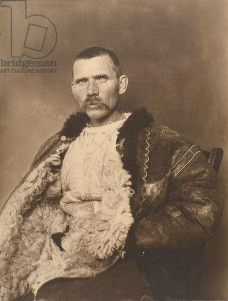 Romanian shepherd, c.1910 (b/w photo)