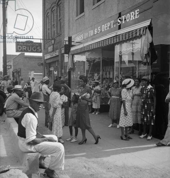 Shopping on main street of Pittsboro, 1939 (b/w photo)