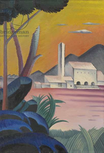 Landscape with Contrasting Tree Forms, II, (oil on canvas)