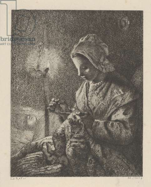 Sewing by Lamplight, 1873 (etching)