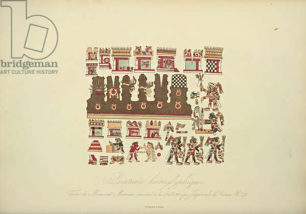 Hieroglyphic Paintings from Mexican Manuscript III, conserved at the Imperial Library of Vienna, illustration from 'Vues des Cordillères et Monumens des Peuples Indigènes de l'Amérique' by Alexander von Humboldt and Aime Bonpland, 1813 (hand-coloured aquatint)