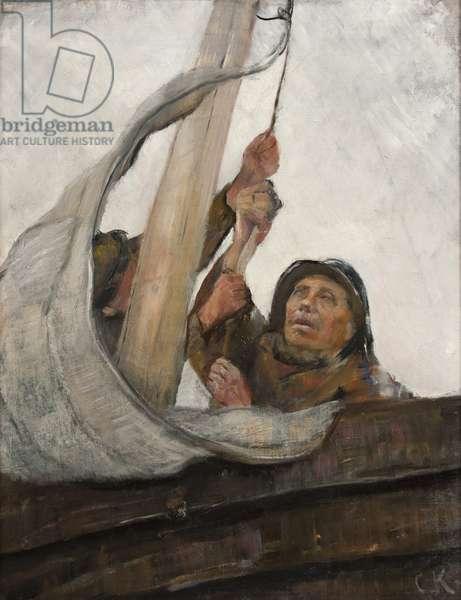 Setting Sail, c.1900 (oil on canvas)
