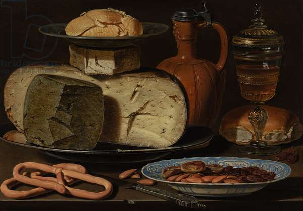 Still Life with Cheeses, Almonds and Pretzels, c.1615 (oil on panel)