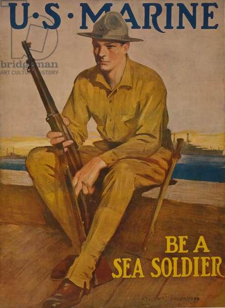 U.S. Marine - Be a sea soldier, 1917 (colour lithograph)