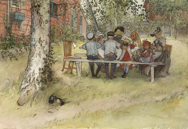 Breakfast under the Big Birch, from 'A Home' series, c.1895 (w/c on paper)