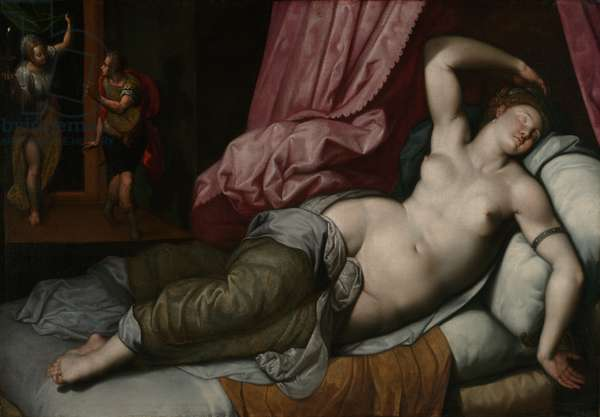 Paris Being Admitted to the Bedchamber of Helen, c.1585-90 (oil on canvas)