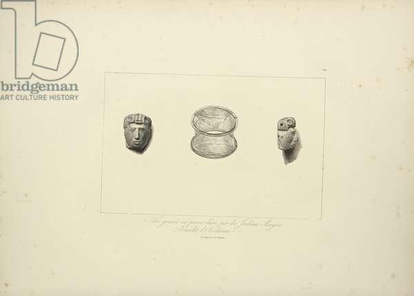 Engraved Head of Hard Stone of the Muycas Indians, Obsidian Bracelet, illustration from 'Vues des Cordillères et Monumens des Peuples Indigènes de l'Amérique' by Alexander von Humboldt and Aime Bonpland, 1813 (engraving)