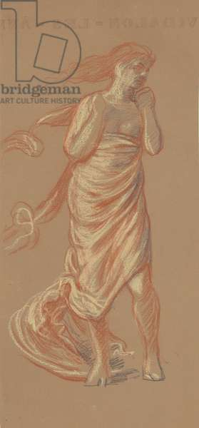 Standing Draped Female Figure, c.1872-77 (crayon on wove paper)