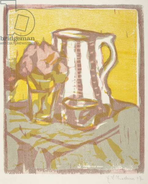 Still life with pitcher and flowers, 1907 (woodcut)