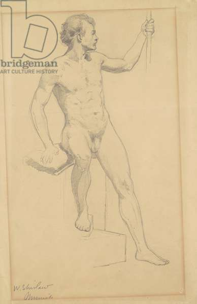 Seated Male Nude, c.1870-77 (graphite on wove paper)