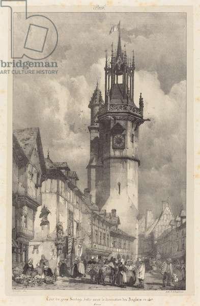 Big Clock Tower Evreux from 'Voyages Pittoresques et Romantiques dans l'Ancienne France: Normandie', 1824 (lithograph)