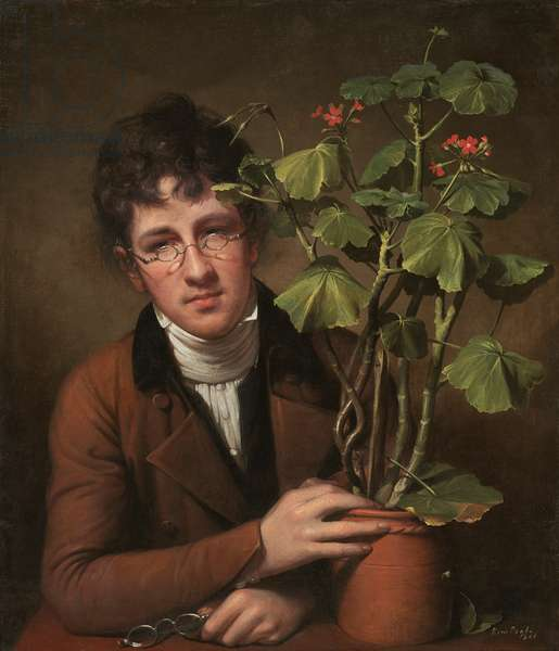 Rubens Peale with a Geranium, 1801 (oil on canvas)