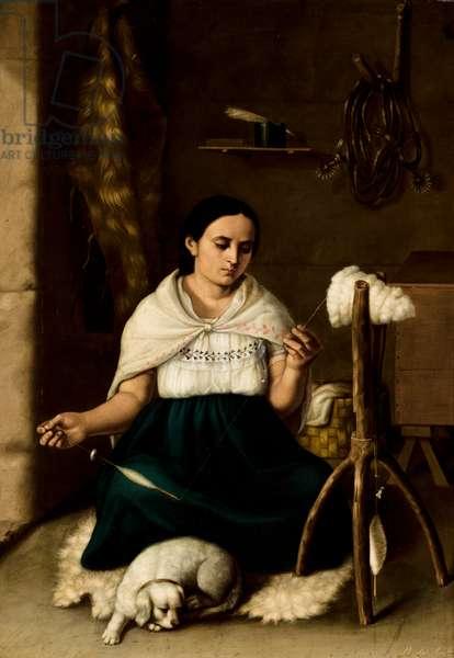 Woman Spinning (Hilandera), 1859 (oil on canvas)