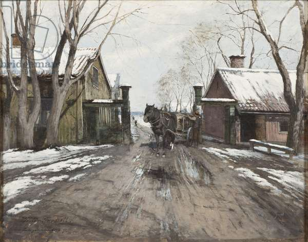 At the City Toll Gate, 1892 (oil on wood)