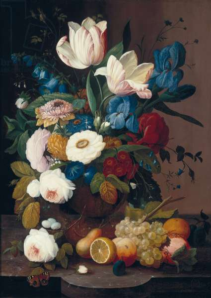 Still Life, Flowers and Fruit, 1848 (oil on canvas)