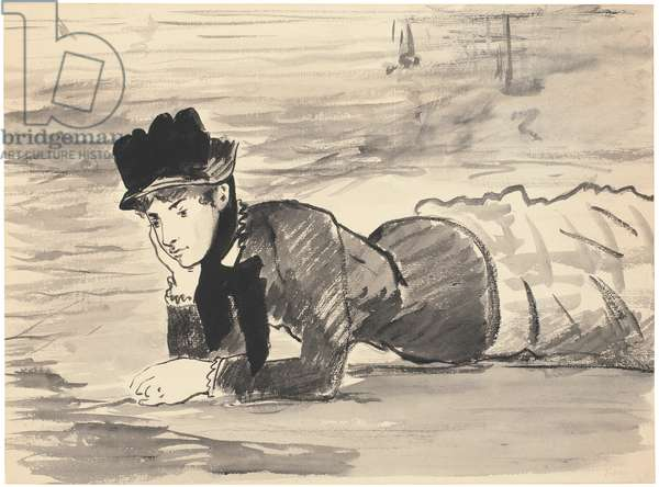 Woman Lying on the Beach. Annabel Lee, c. 1881 (Brush, grey and black ink over black chalk; framed in pen and blackish brown ink)
