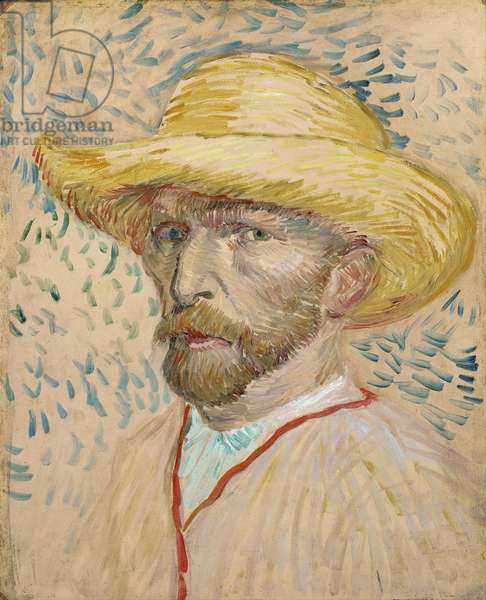 Self Portrait with Straw Hat, 1887 (oil on cardboard)