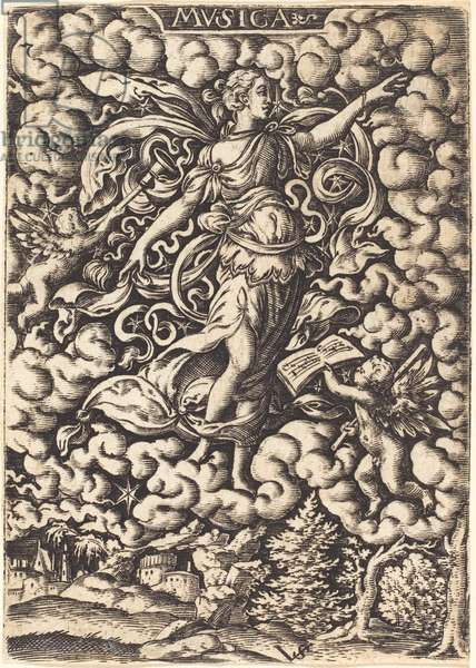 Musica, 16th century (engraving)