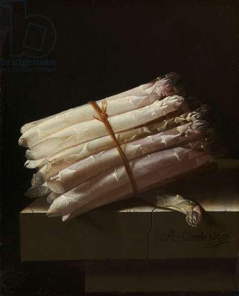 Still Life with Asparagus, 1697 (oil on panel)