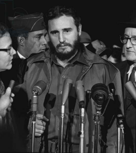 Fidel Castro arrives at Washington airport, 1959 (b/w photo)