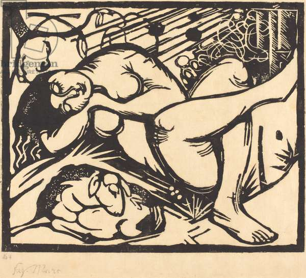 Sleeping Shepherdess (Schlafende Hirtin), 1912 (woodcut)