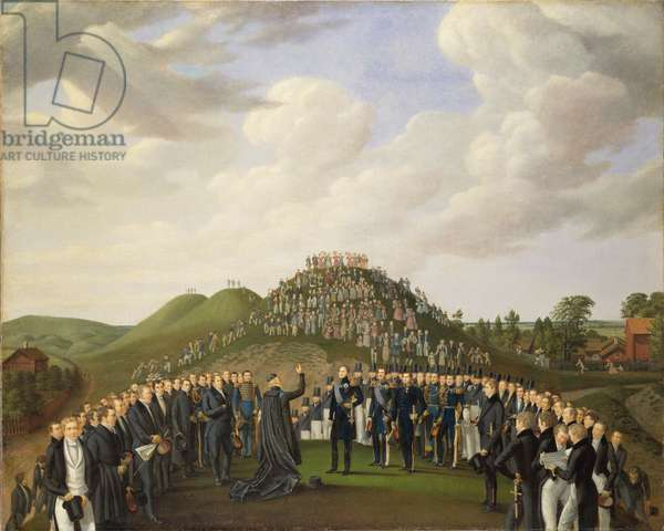 King Carl XIV Johan (1763-1844) of Sweden Visiting the Mounds at Old Uppsala in 1834, 1836 (oil on canvas)